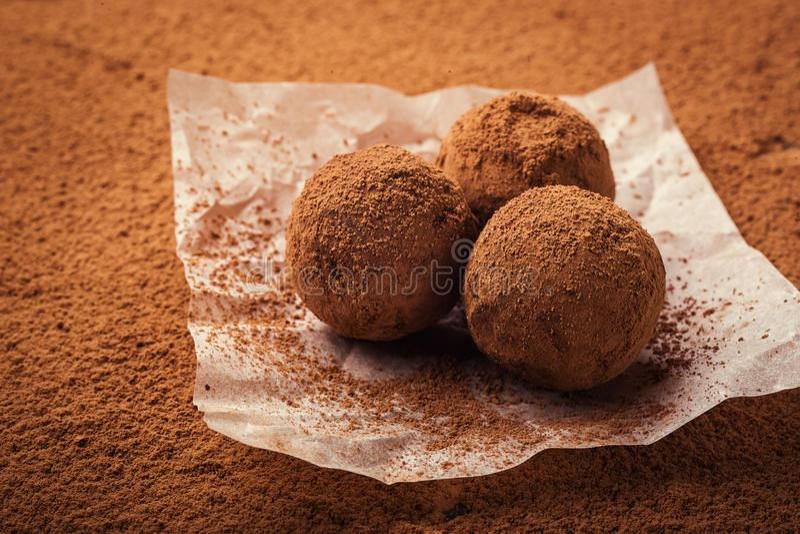 Chocolate truffle,Truffle chocolate candies with cocoa powder.Ho stock image