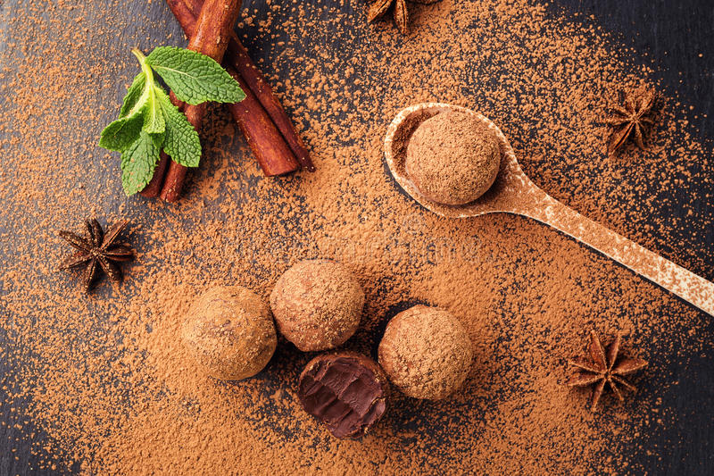 Chocolate truffle,Truffle chocolate candies with cocoa powder.Homemade fresh energy balls with chocolate.Gourmet assorted truffle royalty free stock images