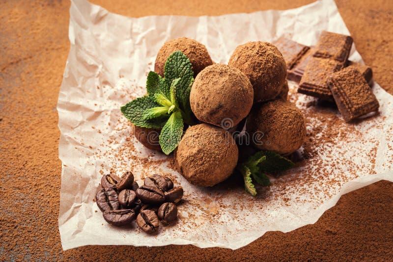 Chocolate truffle,Truffle chocolate candies with cocoa powder.Homemade fresh energy balls with chocolate.Gourmet assorted truffle stock image