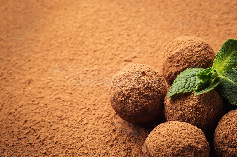 Chocolate truffle, Truffle chocolate candies with cocoa powder. Homemade fresh energy balls with chocolate. Gourmet assorted truff royalty free stock photo