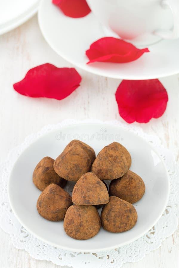 Chocolate truffles. On white plate stock image