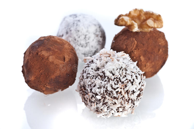 Chocolate truffles assortment royalty free stock images