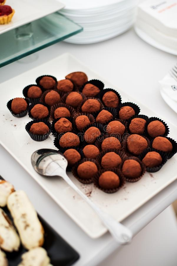 Chocolate truffles. On a catering table (candy bar stock photography