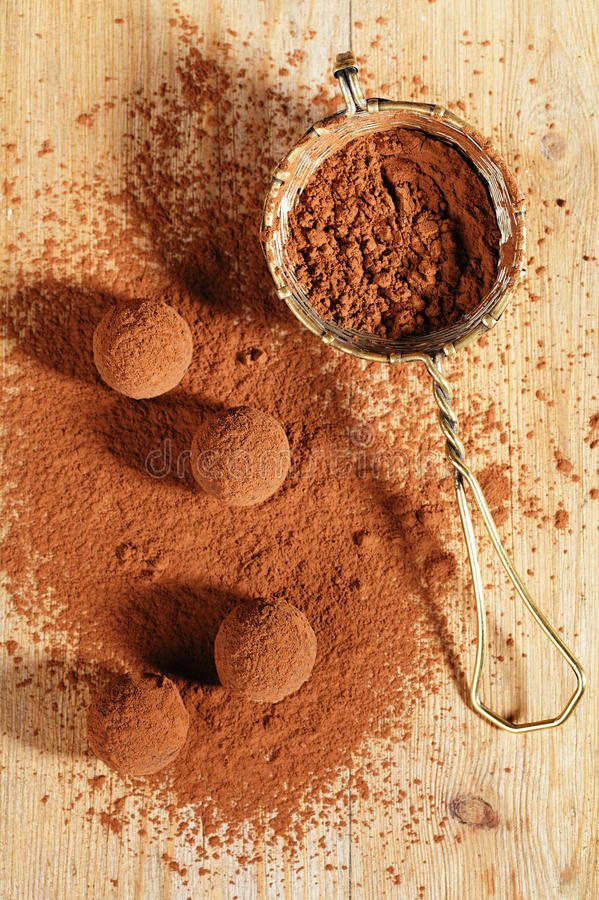Download Chocolate Truffles Cocoa Powder Dusted And Sieve Stock Photo - Image: 26907362