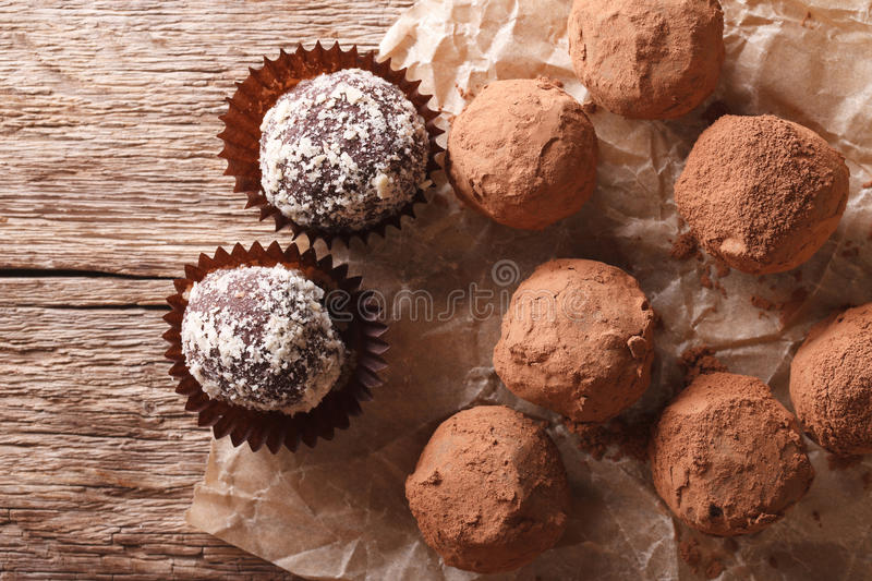 Chocolate truffles in a rustic style. horizontal top view royalty free stock photo