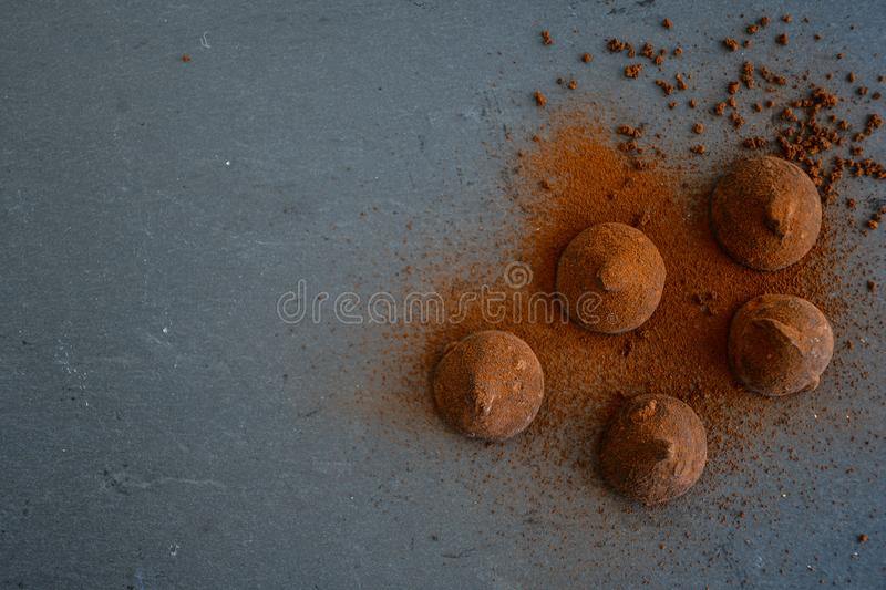 Cocoa truffles royalty free stock images