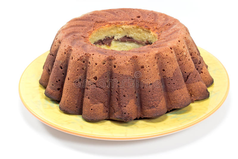 Chocolate and vanilla marble cake stock photography