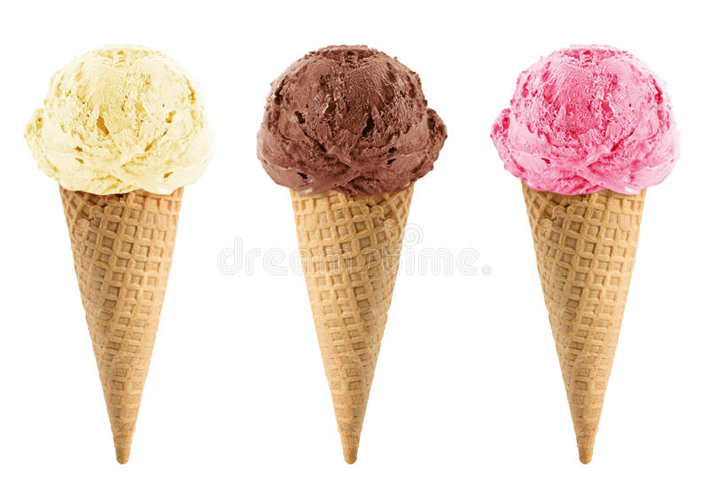 Chocolate, vanilla and strawberry Ice Cream. In the cone on white background with clipping path stock photo