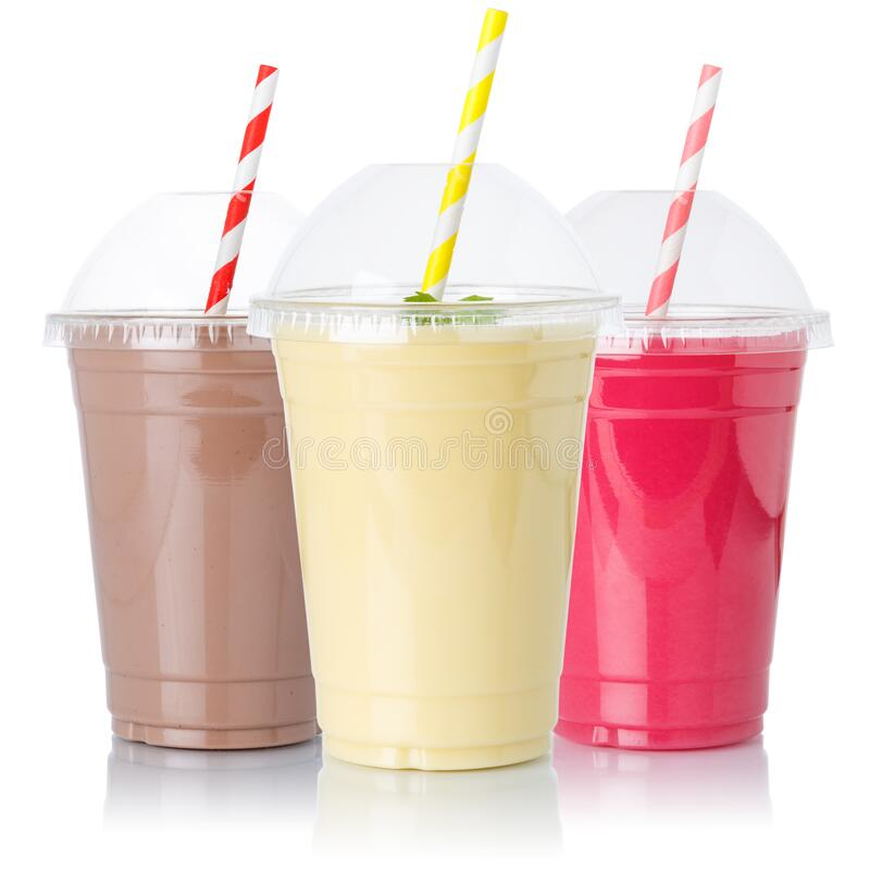 Free Chocolate Vanilla Strawberry Milk Shake Milkshake Collection Straw In A Cup Isolated On White Royalty Free Stock Photo - 180956455