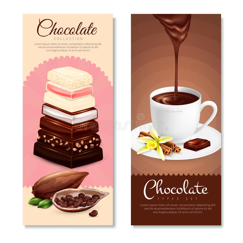 Chocolate Vertical Banners Set stock illustration