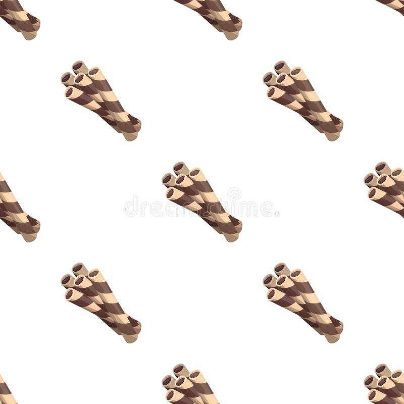 Chocolate wafer straws icon in cartoon style isolated on white background. Chocolate desserts symbol stock vector. Chocolate wafer straws icon in cartoon design vector illustration