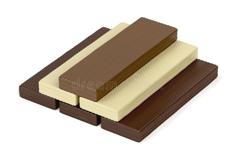 Chocolate wafers on white. Wafers with different types of chocolate on white background royalty free illustration