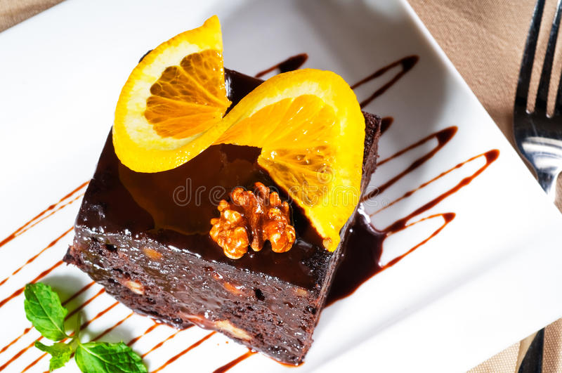 Download Chocolate and walnuts cake stock image. Image of meal - 17954795