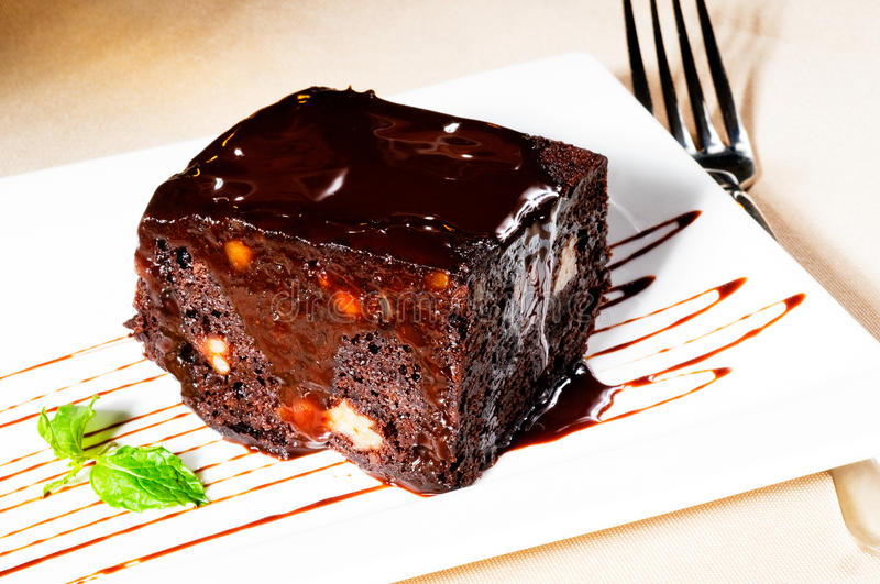 Download Chocolate and walnuts cake stock image. Image of baked - 20668557
