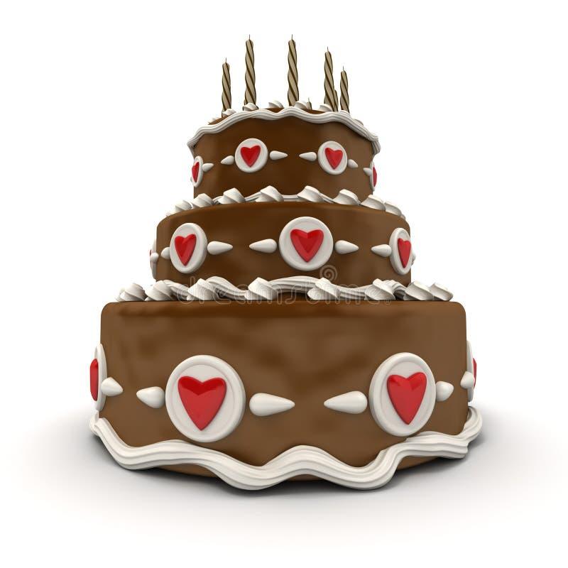 Chocolate Wedding cake vector illustration