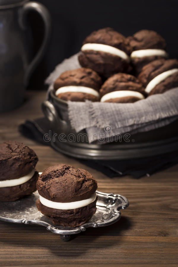 Download Chocolate Whoopie Pies Or Moon Pies Stock Image - Image of table, wooden: 51334683