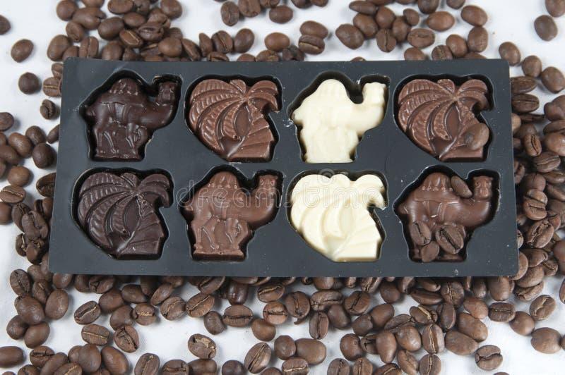 Chocolate y los gérmenes del café fotografía de archivo libre de regalías