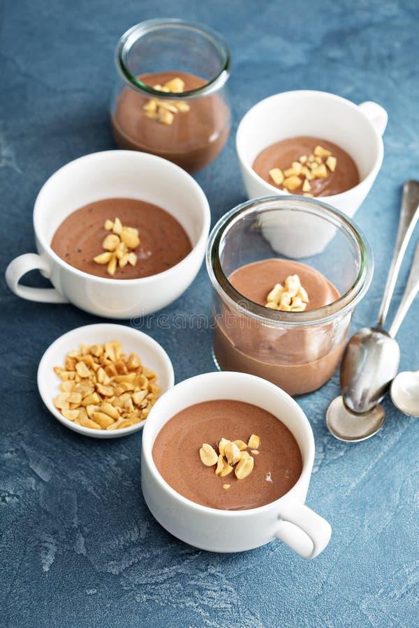 Chocolate yogurt dessert with salted peanuts royalty free stock photography