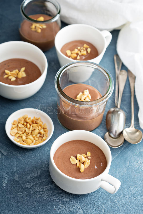 Chocolate yogurt dessert with salted peanuts royalty free stock images