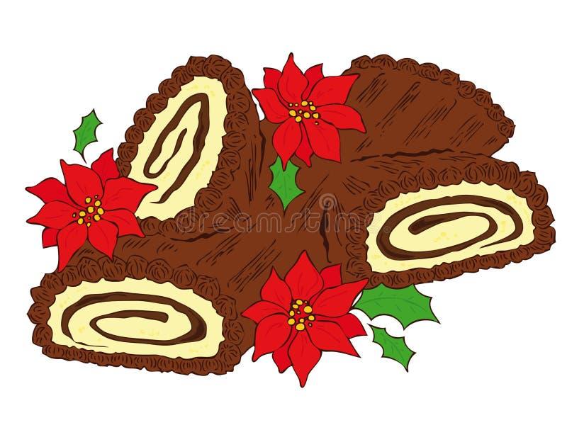Chocolate Yule log. Illustration of a chocolate Yule log stock illustration