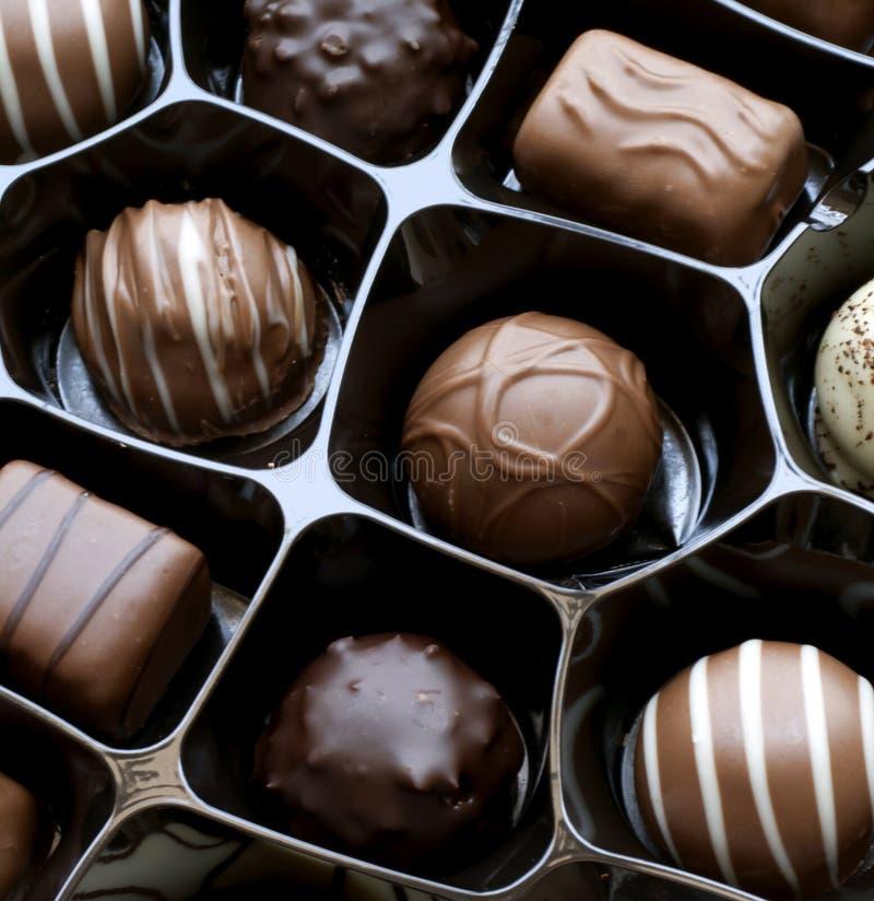Chocolates. Box of chocolates close-up royalty free stock photos