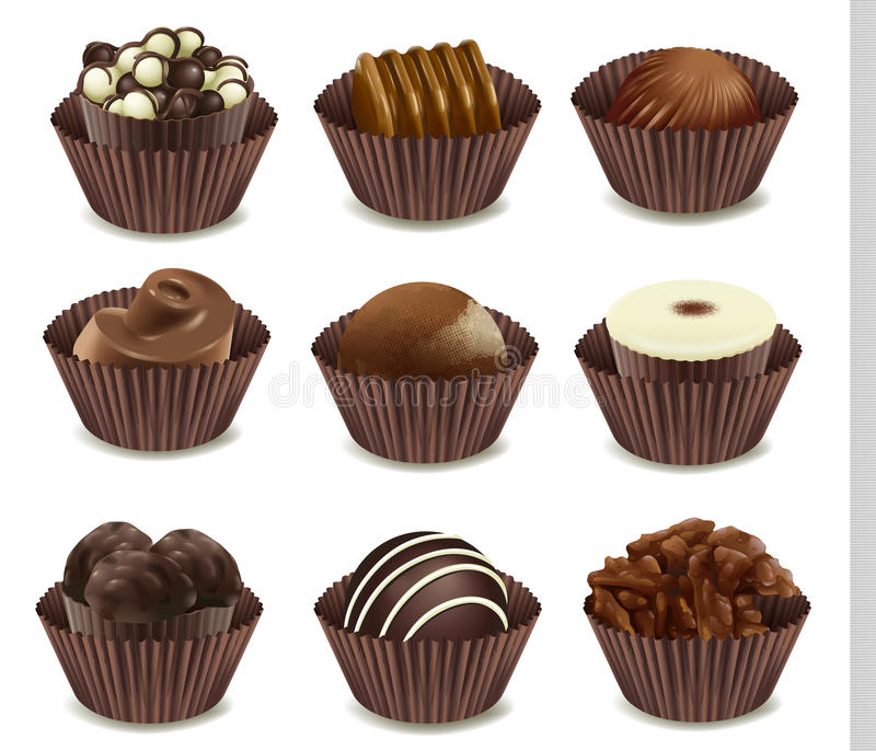 Chocolates. Illustration of chocolates in a cup on a white background royalty free illustration