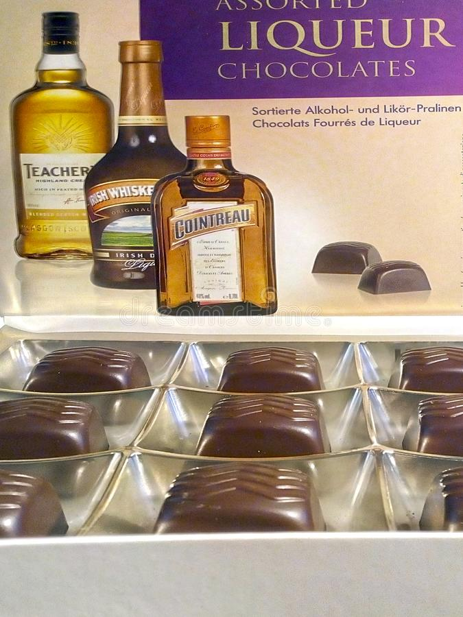 Chocolates with alcohol royalty free stock photography