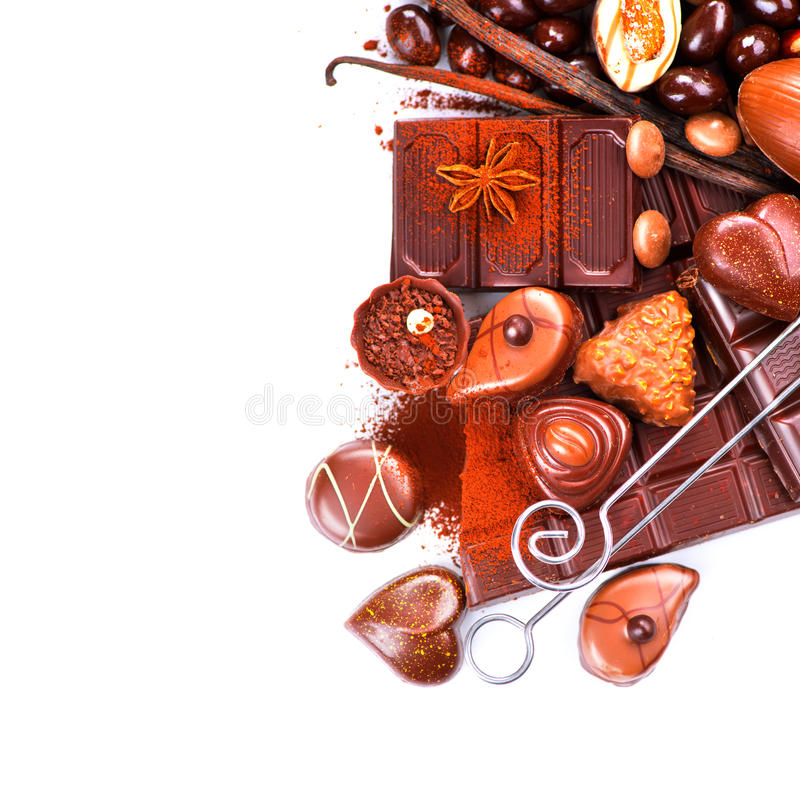 Chocolates border isolated on white royalty free stock image