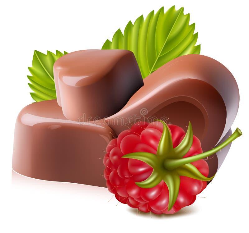 Chocolates con la frambuesa. stock de ilustración