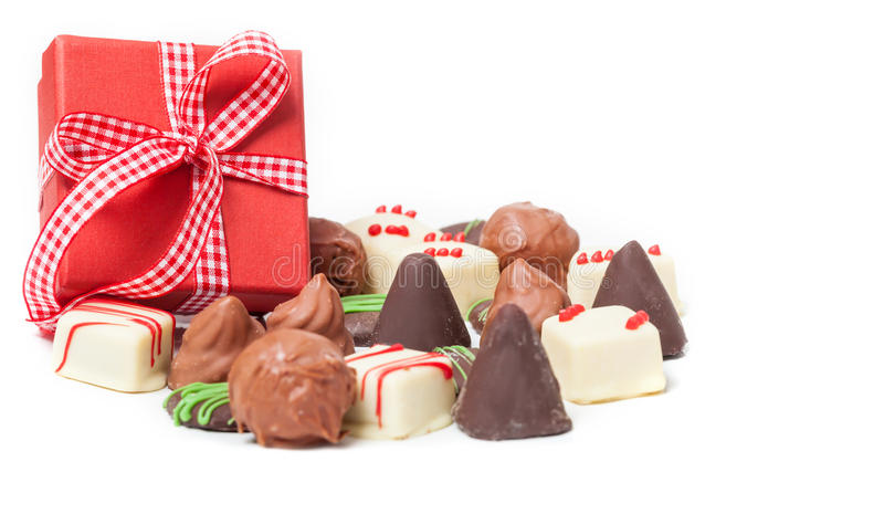 Chocolates, Confection, gift. On white background stock photo