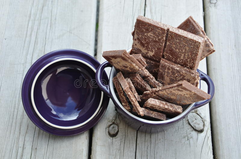 Chocolates in a container royalty free stock photos