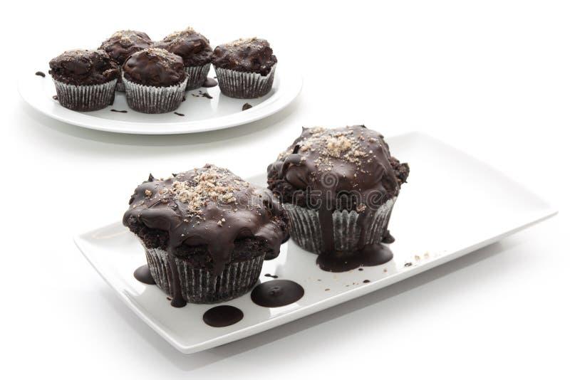 Chocolates de Brown em placas em um fundo branco fotos de stock royalty free