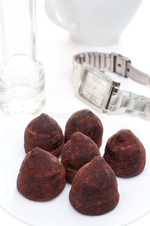 Chocolates de la trufa imagenes de archivo