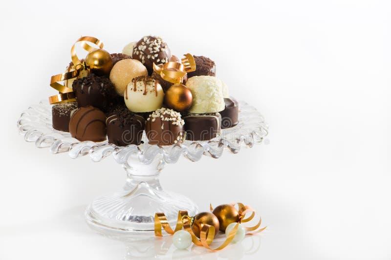 Chocolates de lujo de la Navidad foto de archivo
