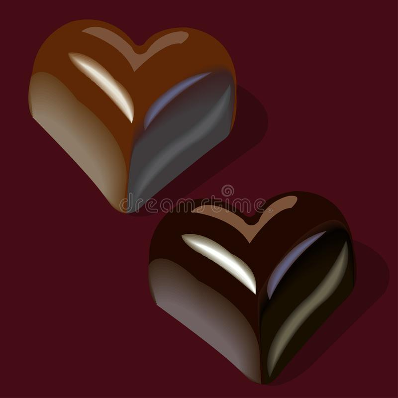 Chocolates en la forma de corazones libre illustration
