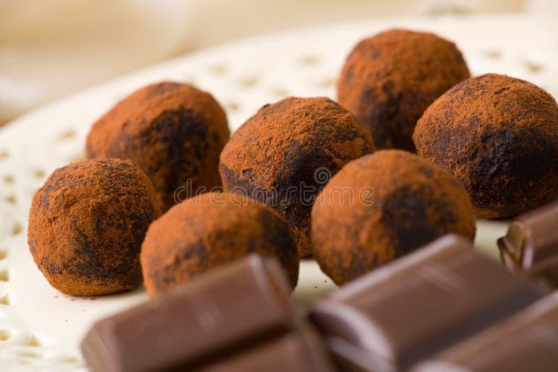 Chocolates hechos a mano fotografía de archivo