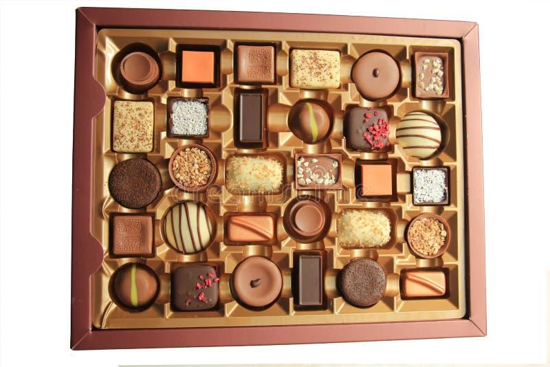 Chocolates luxuosos na caixa imagens de stock