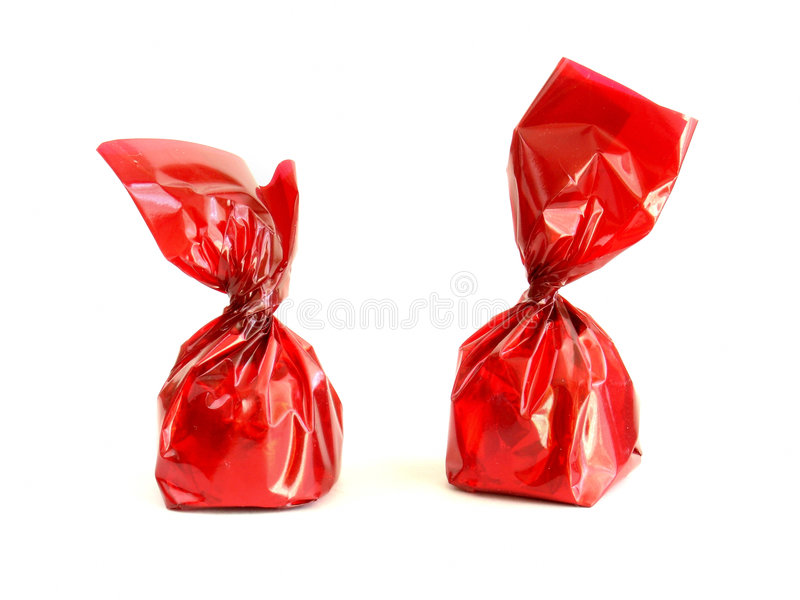 Chocolates in red stock photo