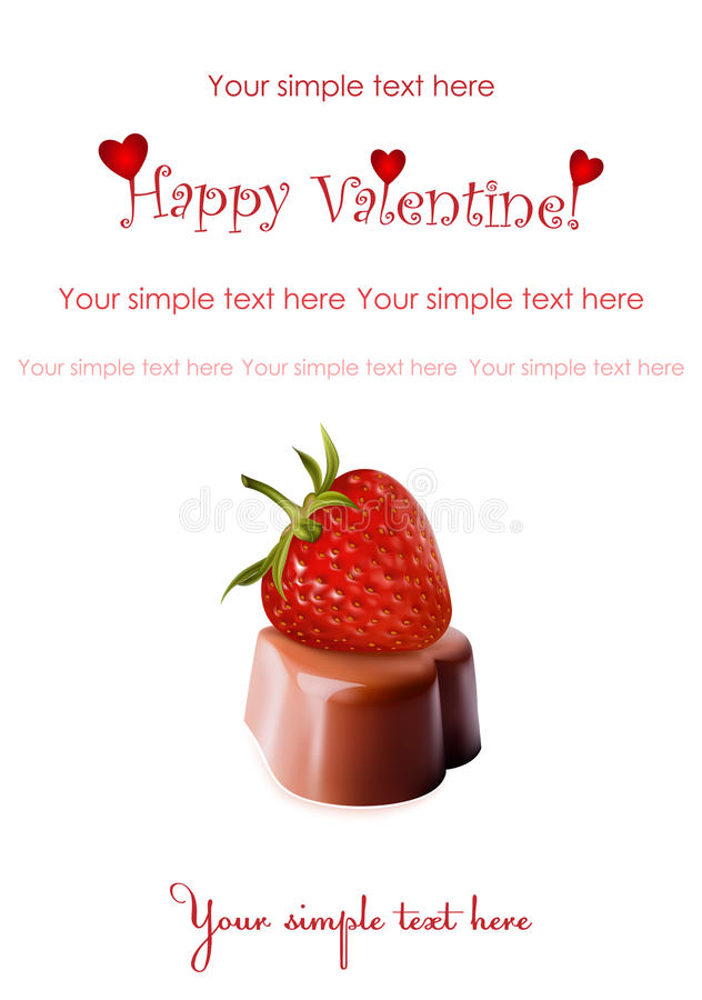 Chocolates and ripe strawberry.Valentine's day. stock illustration