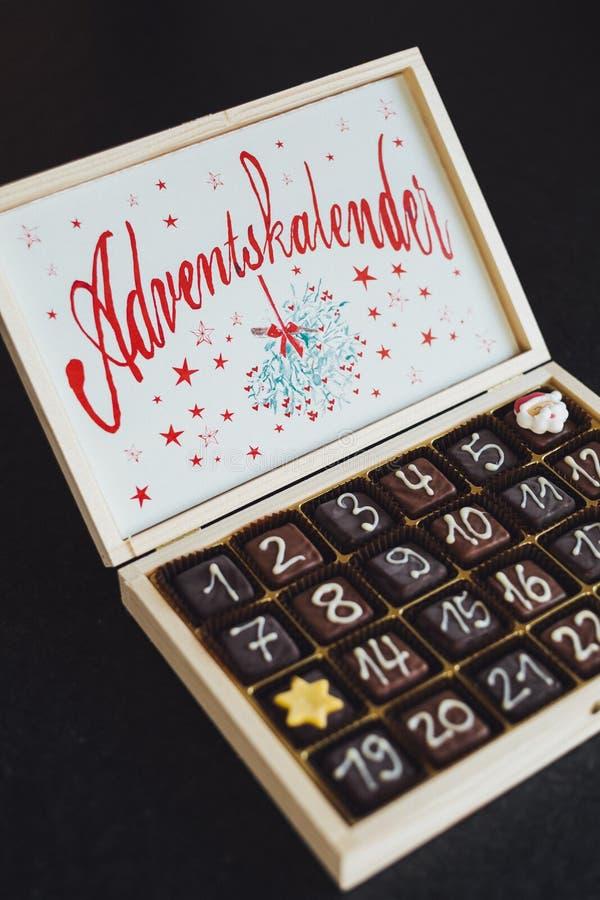 Chocolates on White Wooden Box stock photography
