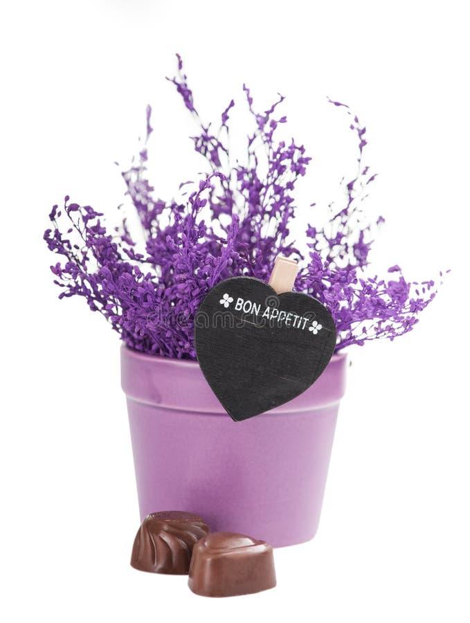 Chocolates y Bon Appetit Sign imágenes de archivo libres de regalías