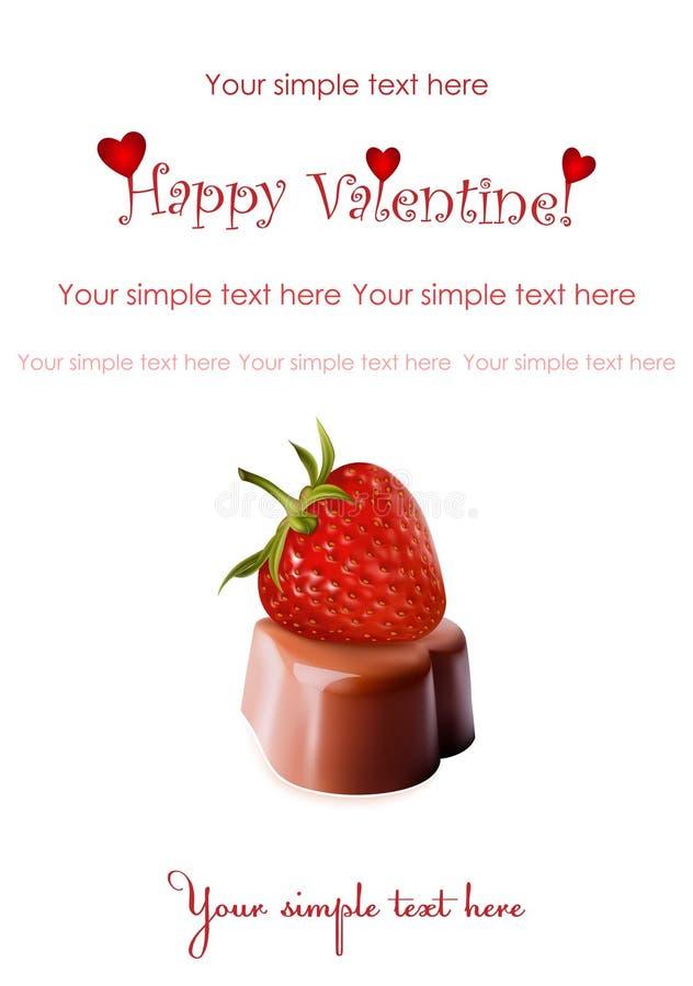 Chocolates y fresa madura. Día de tarjeta del día de San Valentín. stock de ilustración