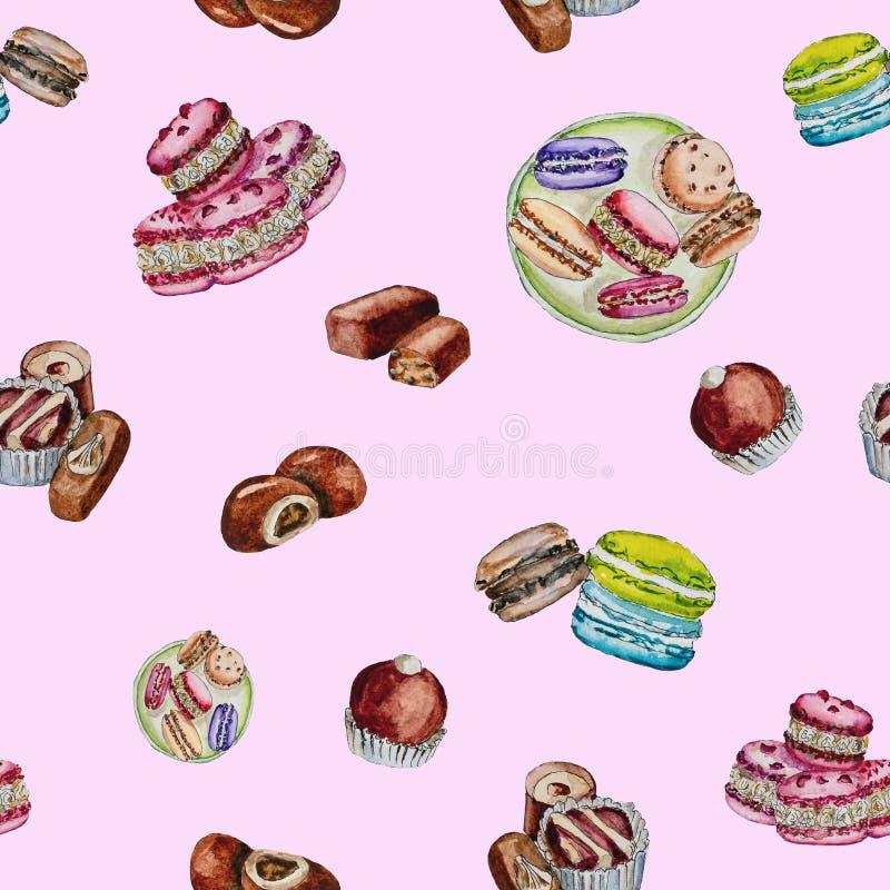 Chocolates y macarrones pintados en acuarela fotos de archivo