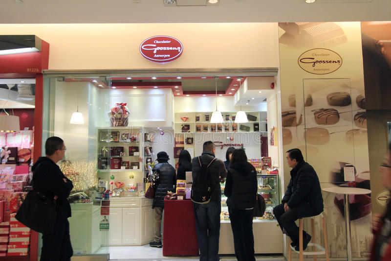 Chocolatier goossens安特卫普商店在香港 库存图片