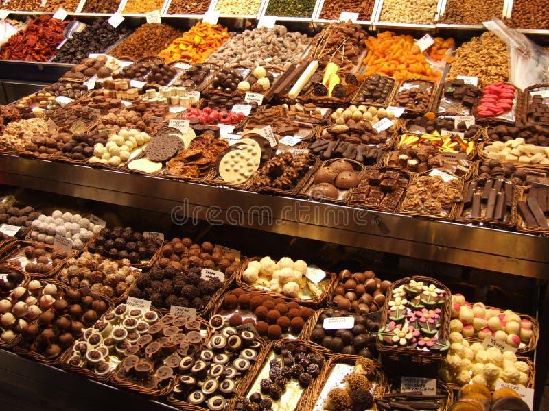 Chocolats à un marché images libres de droits