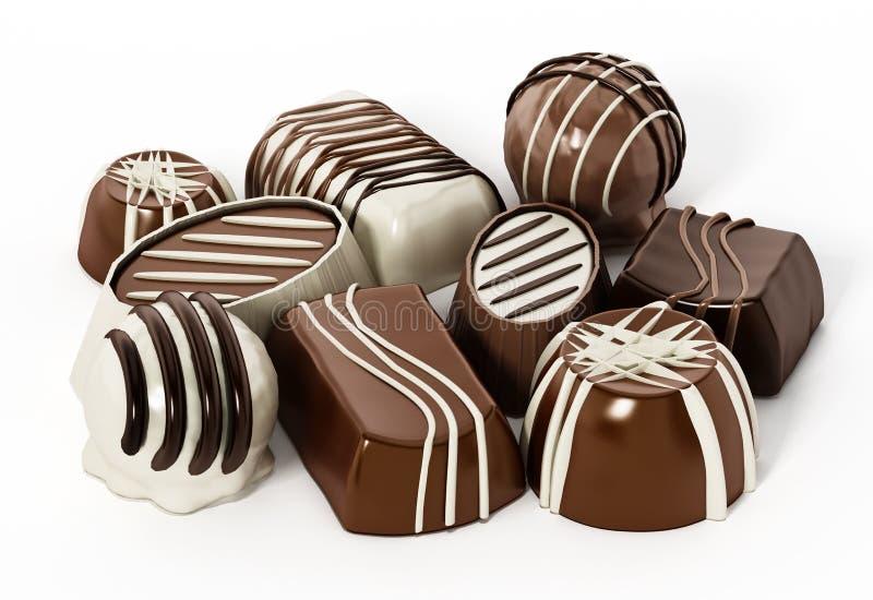 Chocolats assortis d'isolement sur le fond blanc illustration 3D illustration stock