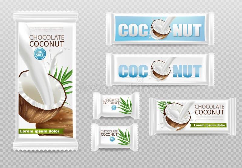 Chocolats de noix de coco d'isolement pour diriger la moquerie réaliste  conception de label d'emballage de produit r illustration libre de droits