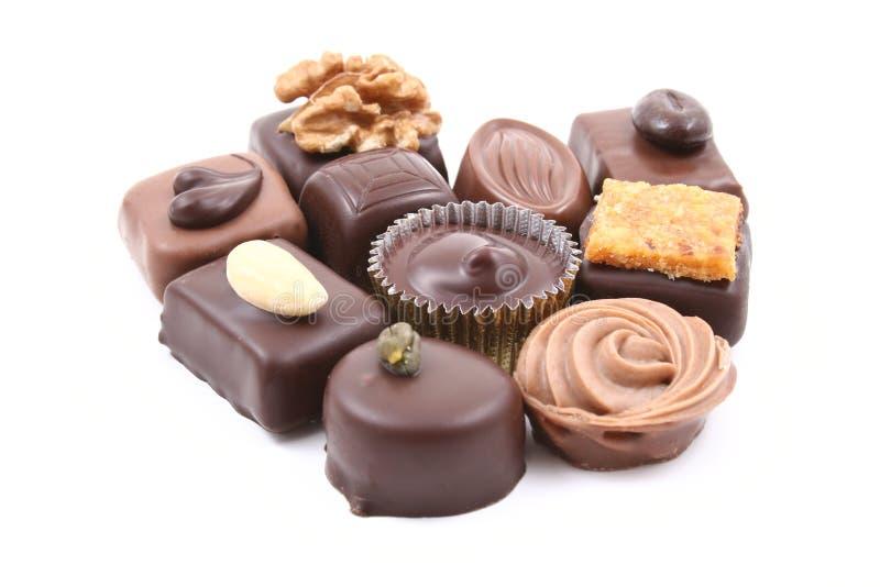 Chocolats mélangés image stock
