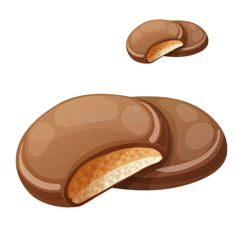 Chocolaty-Beschichtung bedeckte die Plätzchen, die mit Sahne überlagert wurden und Erdnussbutter Katze entweicht auf ein Dach vom lizenzfreie abbildung