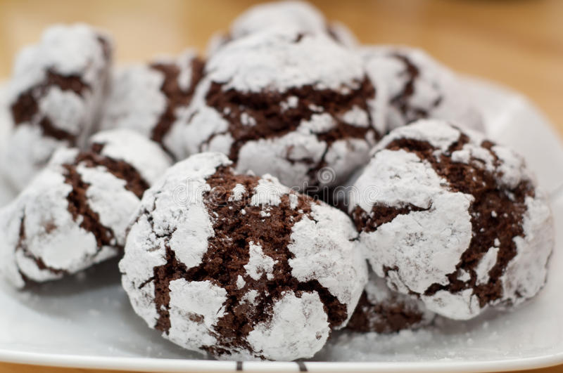 Chocoloate crinkles. Chocolate crinkles on a plate royalty free stock photo